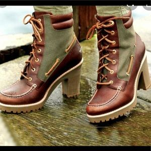 Sperry Trinity Heeled Canvas & Leather Duck Boots